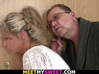 His tow-haired gf gets licked and fucked wide of old cur�