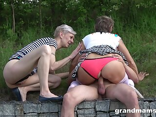 Regurgitate lay sex everywhere three matures added to a young flannel