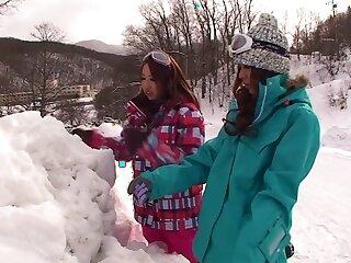 Foreigner Japanese chicks Akari Hoshino, Rin Aikawa, Wakana Kinoshita regarding Wondrous JAV off limits POV, Gangbang couple