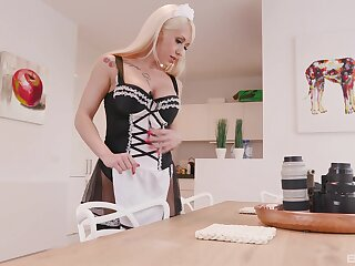 Horny blonde unladylike Christina Shine sucks a large black womanhood
